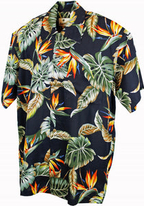 Nevada Black Tropical Hawaiian Mens Short Sleeve Shirt; Karmakula; Nevada Shirt; Short Sleeve Shirt; Hawaiian Shirt; Black Tropical Print; Black