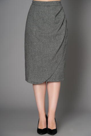 Roxanne Grey Black & White Houndstooth Wiggle Skirt