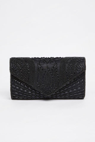 1920s Inspired Beatrice Hand Embellished Clutch Bag In Black