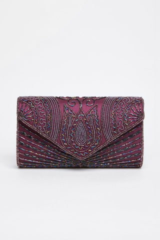 Beatrice Hand Embellished Clutch Bag In Plum