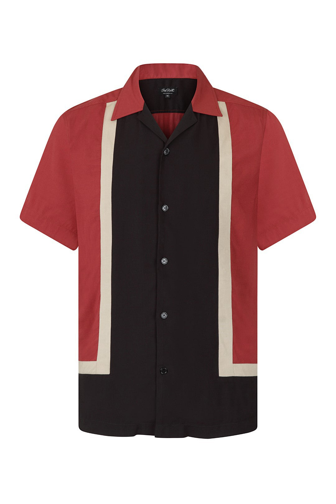 Mens Walter Contrast Black Red White Detail 1950's Bowling Shirt