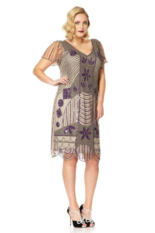 Daisy 1920s Flapper Dress In Taupe Size 10