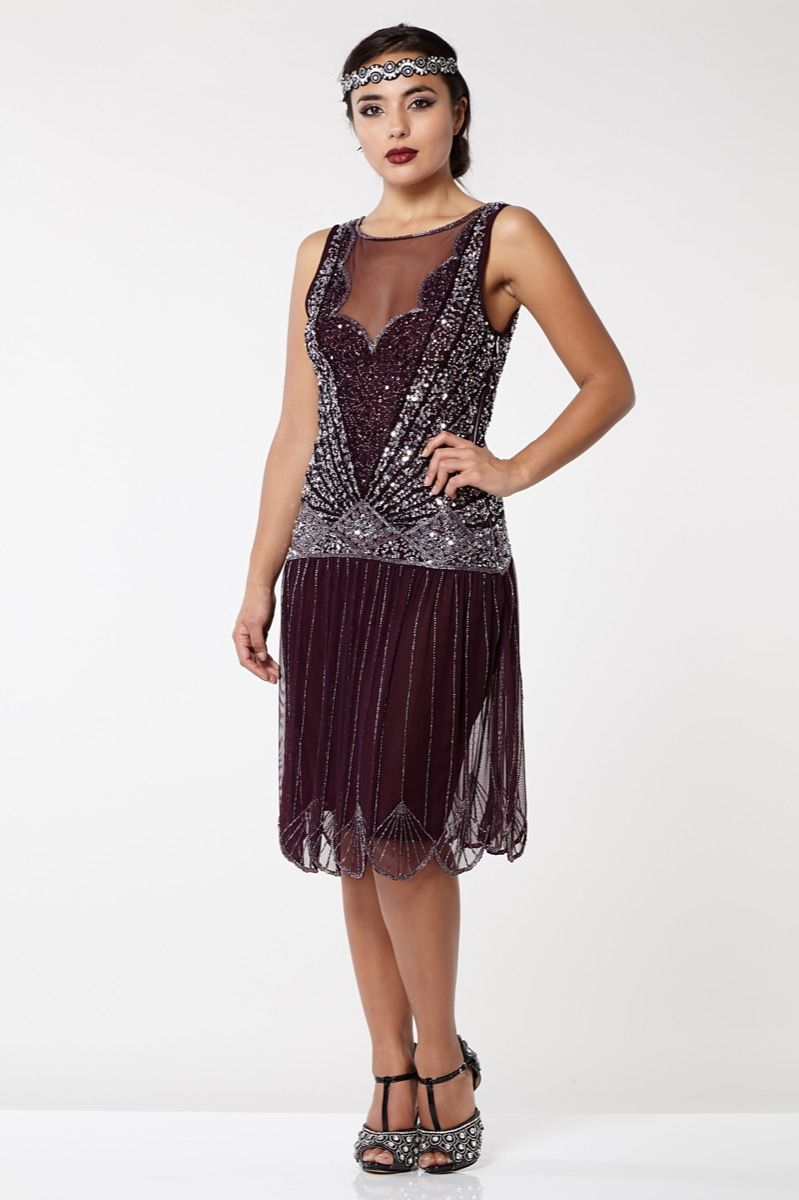 Elaina 1920s Flapper Drop Waist Dress In Plum