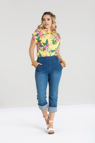 Hell Bunny Austin Blue Denim High Waisted Capris Jeans