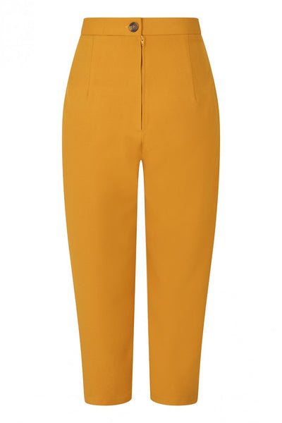 Hell Bunny Amelie Mustard Yellow UK Made Cigarette Trousers