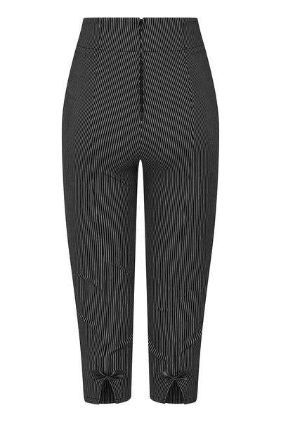 Hell Bunny Jack Pinstripe Capris Trousers In Black & Grey