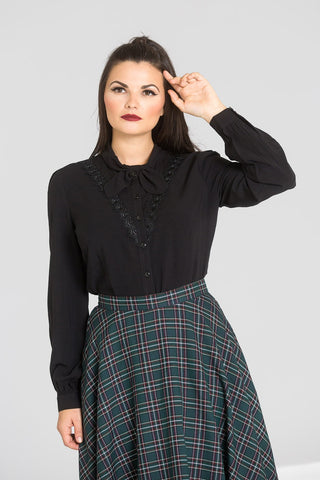 Hell Bunny Adelia Black Long Sleeve Blouse