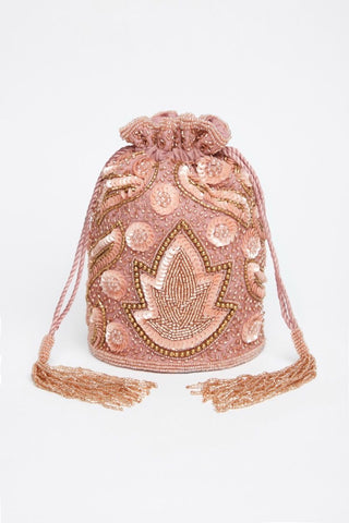 1920s Inspired Hollywood Hand Embellished Bucket Bag In Rose