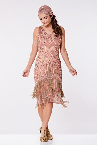Hollwood 1920s Flapper Fringe Dress In Rose Size 8