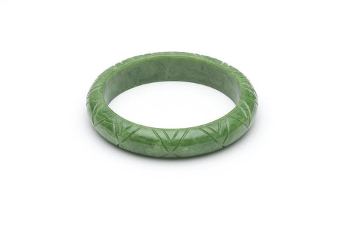Splendette Midi Sage Green Carved Fakelite Duchess Bangle