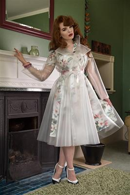 1950s Double Breasted Skirted Rain Mac In Semi Transparent Natural