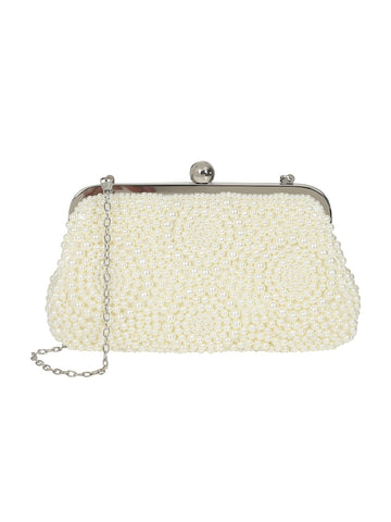 Collectif Olla Pearl Clutch Bag In Ivory With Detachable Chain