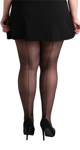 Pamela Mann Jive Seamed Black/Black Tights; Pamela Mann; Jive Tights; Seamed Tights; Black; Back View