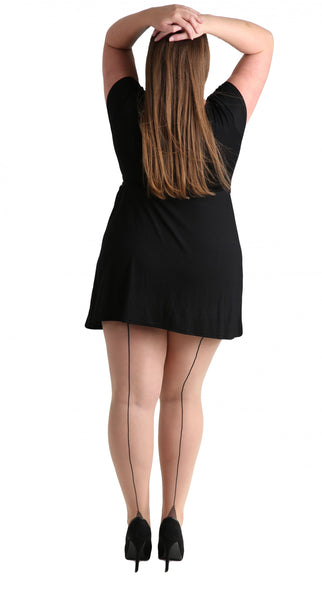 Pamela Mann Jive Seamed Nude/Black Tights; Pamela Mann; Jive Tights; Seamed Tights; Nude & Black; Back View