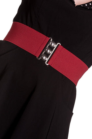 Hell Bunny Retro Elasticated Waspie 1950's Style Belt In Burgundy Red; Hell Bunny; Waspie Belt; Retro Style; 1950s Style; Elasticated Waspie Belt; Burgundy Red