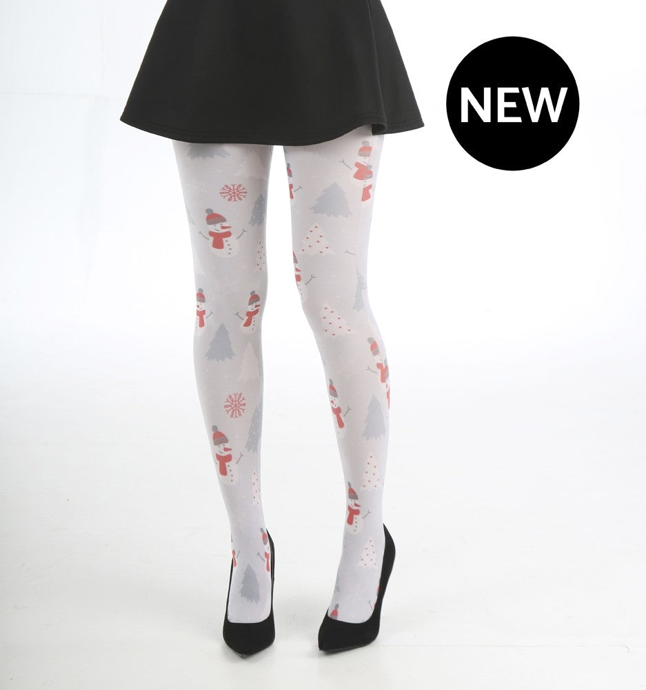 Pamela Mann Christmas Snowmen Grey Festive Tights