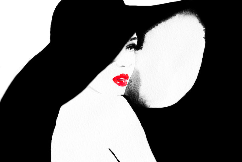 Woman with Red Lips.