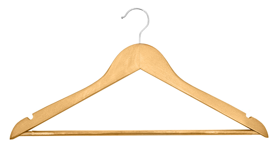 Light wood hooked hanger (100)  -  Code H10 - 42p each