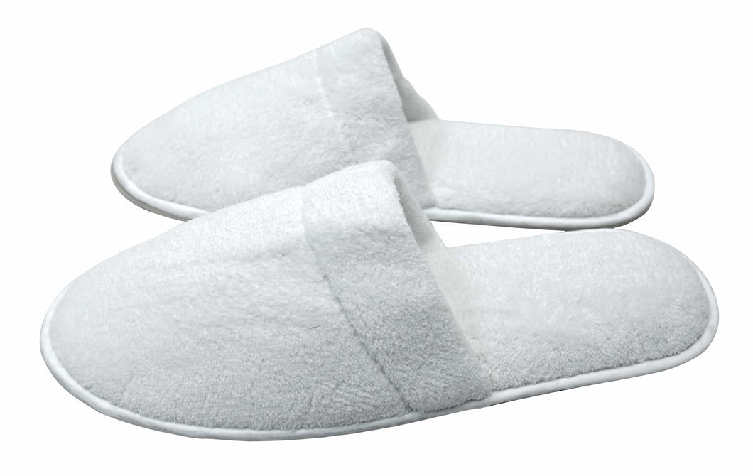Slippers luxury velour closed toe white
