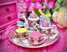 Load image into Gallery viewer, Vintage Pink floral  Miniature Tea-set on Round tray