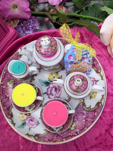 Vintage Pink floral  Miniature Tea-set on Round tray