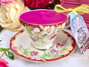 Queen Anne Teacup & Saucer - Enchanted garden