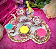 Load image into Gallery viewer, Regal Pink & Gold floral Miniature Tea set