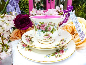 Royal Albert 'Moss Rose' Teacup Trio