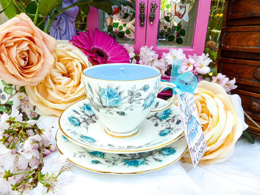 Old Royal 'Blue Roses' Teacup Trio