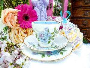 Paragon Teacup Trio - Blue Rose