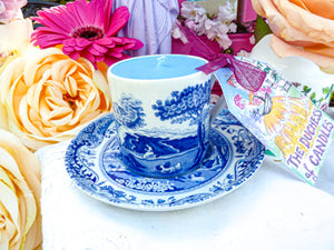 Spode coffee cup & saucer blue Italian Scenes
