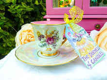 Load image into Gallery viewer, Vintage Czech Zimco Coffee Cup Pearl Lustre & Flower Bouquet