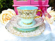 Load image into Gallery viewer, Vintage St Leonards Burslem Teacup Trio Set Duck Egg Blue & Gold Chintz  Warranted 22 KT Gold