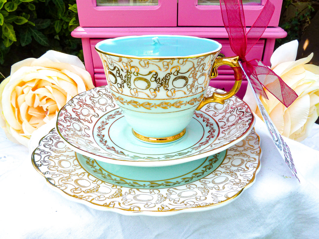 Vintage St Leonards Burslem Teacup Trio Set Duck Egg Blue & Gold Chintz  Warranted 22 KT Gold