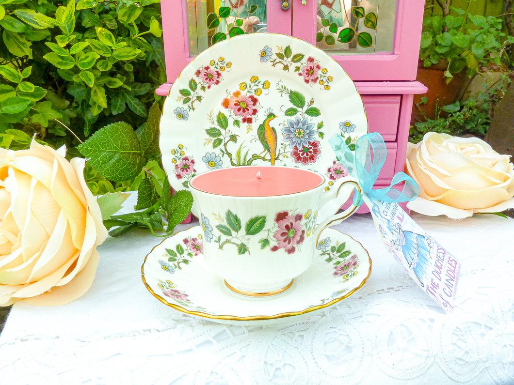 Vintage Royal Stafford Teacup Trio Bird of Paradise Design