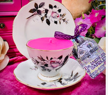Load image into Gallery viewer, Elegant 1960s Royal Albert 'Queens Messenger' White Rose Teacup Soy Scented Candle