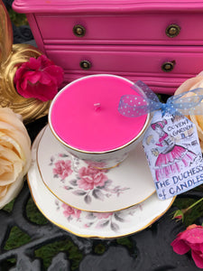 Vintage 'Duchess' Pink Roses Teacup Scented Soy Candle trio set