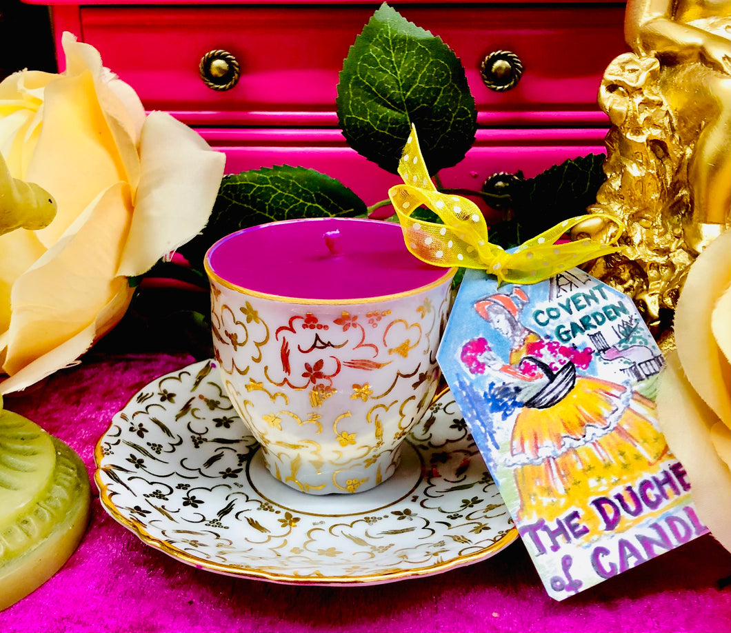 Stunning Gold Chintz Czech Coffee cup Scented Soy Candle