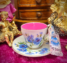 Load image into Gallery viewer, Beautiful Adderley 'blue cornflowers' Coffee cup scented Soy Candle