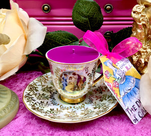 Stunning Pearl lustre & Gold chintz Classical Figures Demitasse coffee cup scented soy candle