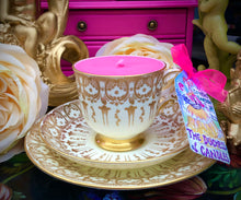 Load image into Gallery viewer, Art Deco Tuscan Gold & Cream Brocade Scented Soy teacup trio