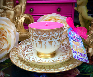 Art Deco Tuscan Gold & Cream Brocade Scented Soy teacup trio