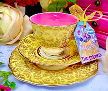 Load image into Gallery viewer, Stunning 'Colclough' Yellow & Gold Chintz 1950s Teacup trio Scented Soy Candle