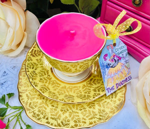 Stunning 'Colclough' Yellow & Gold Chintz 1950s Teacup trio Scented Soy Candle