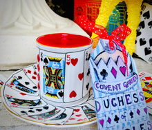 Load image into Gallery viewer, Beautiful 1970s Elizabethan 'Playing Cards' Alice in Wonderland Coffee Cup Trio Scented Soy Candle