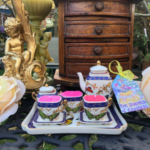 Crown Porcelain , Butterfly Garden Miniature Teaset on a tray