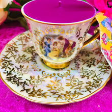 Load image into Gallery viewer, Stunning Pearl lustre & Gold chintz Classical Figures Demitasse coffee cup scented soy candle
