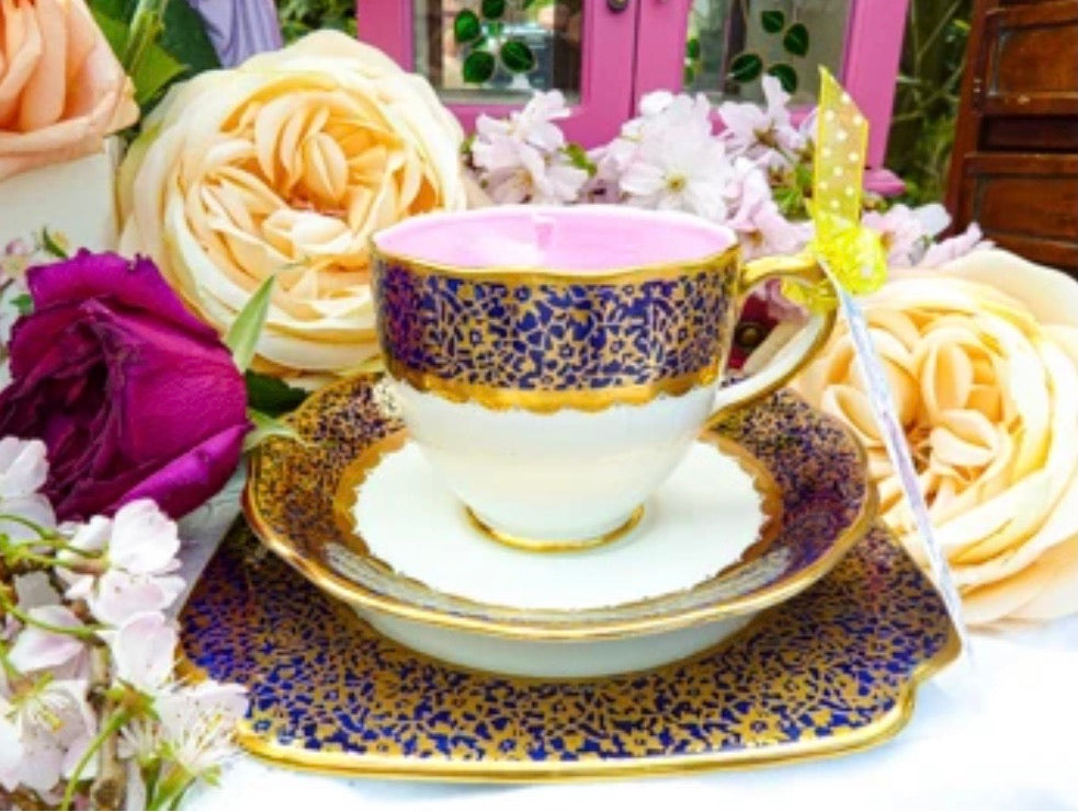 Stunning Antique 1930s Art Deco 'Bell' Teacup Trio Scented Soy Candle