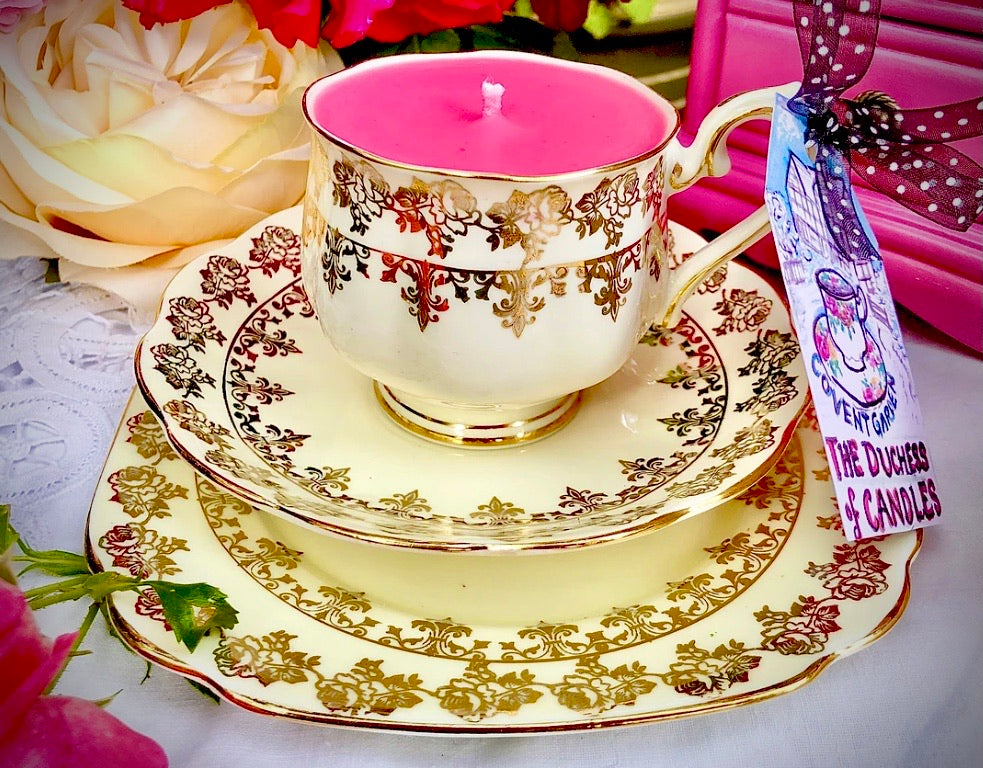 Exquisite Royal Albert Gold Chintz Fleur de Lys Teacup Trio