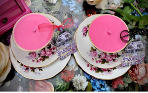 PAIR of Queen Anne Rose Bouquet trio sets with scented soy candles
